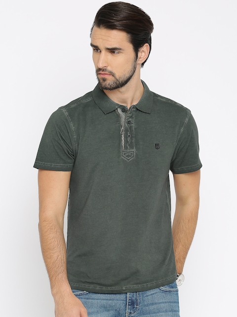 Wrangler Men Green Solid Polo Collar T-shirt  available at myntra for Rs.897