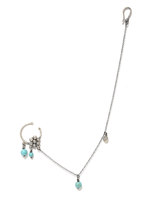 Quirksmith Oxidised Silver & Blue Fleur Nath Clip-On Nose Ring with Chain