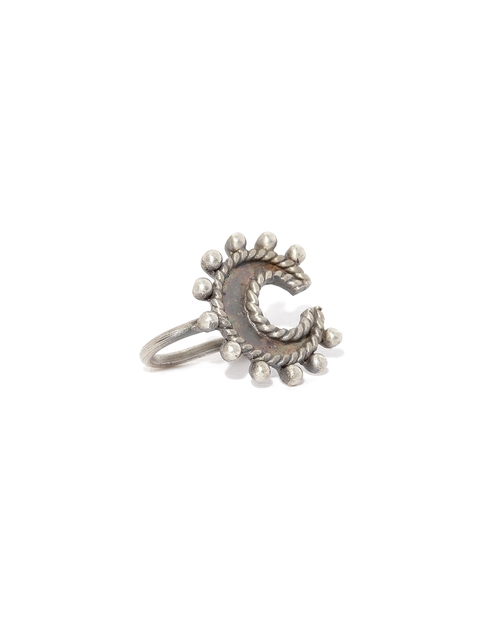 Quirksmith Oxidised Silver-Toned Horse Shoe-Shaped Clip-On Nosepin