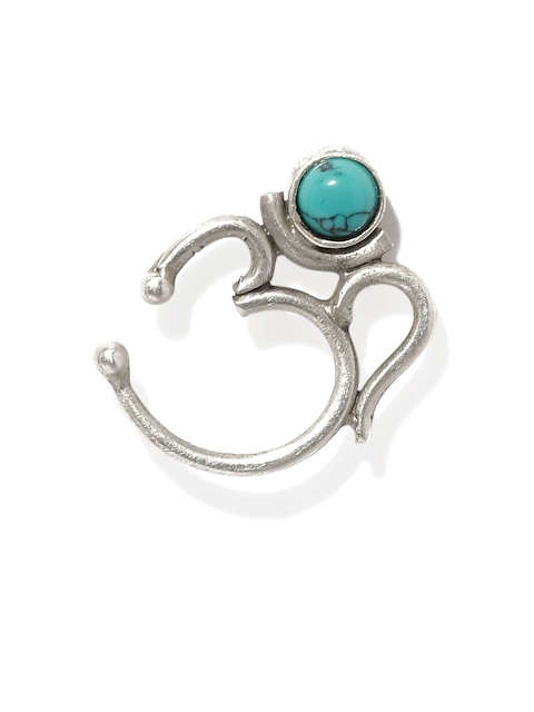 Quirksmith Oxidised Silver & Blue Chandrabindu Om-Shaped Nose Ring