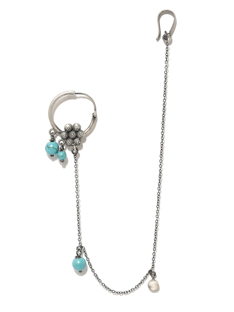 Quirksmith Oxidised Silver-Toned Clip-On Nose Ring