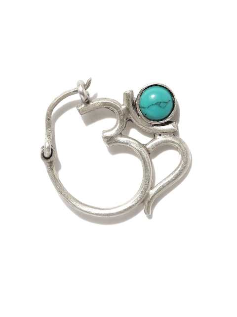 Quirksmith Oxidised Silver & Blue Om-Shaped Chandrabindu Nose Ring