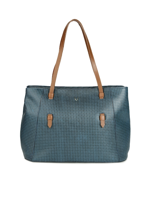 Hidesign Blue Textured Leather Shoulder Bag