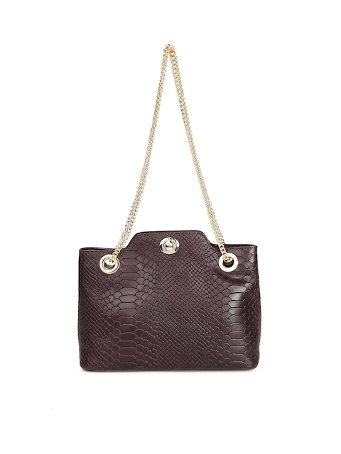 Hidesign Burgundy Textured Shoulder Bag