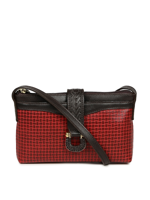 Hidesign Red & Brown Textured Sling Bag  available at myntra for Rs.1747