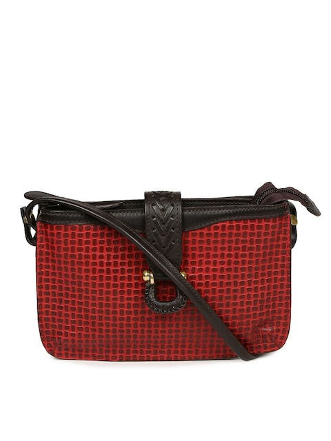 Hidesign Red & Brown Textured Sling Bag