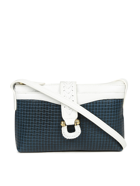 Hidesign Blue & White Textured Sling Bag