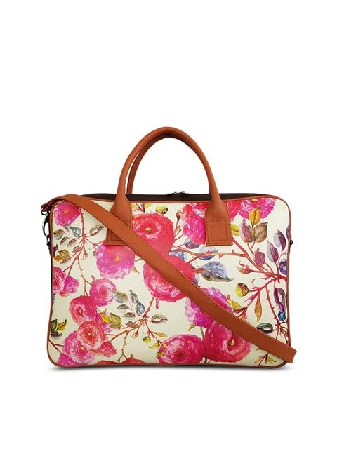 Toteteca Women Pink Floral Print Laptop Bag