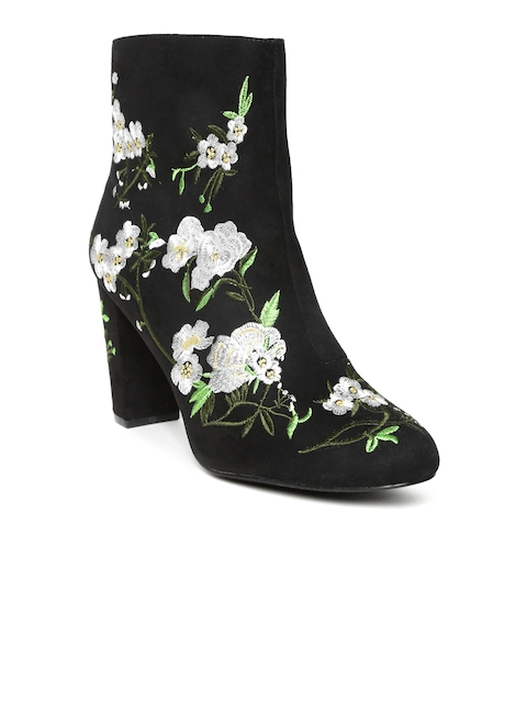 FOREVER 21 Women Black Embroidered Heeled Boots