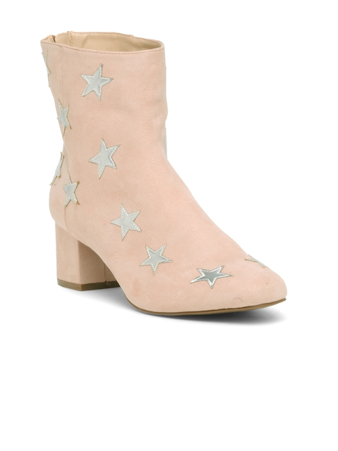 FOREVER 21 Women Nude-Coloured Appliqu Heeled Boots