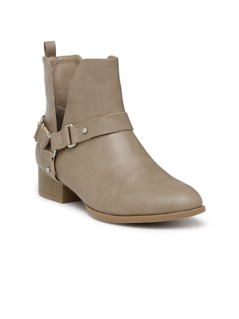 FOREVER 21 Women Beige Solid Heeled Boots