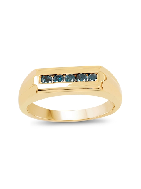 Johareez Gold-Plated Ring with 0.25CTW Genuine Blue Diamonds