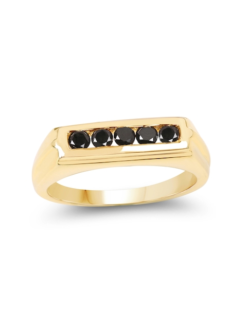Johareez Gold-Plated Ring with 0.40CTW Genuine Black Diamonds