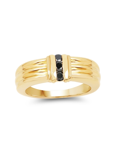 Johareez Gold-Plated Ring with 0.24CTW Genuine Black Diamonds