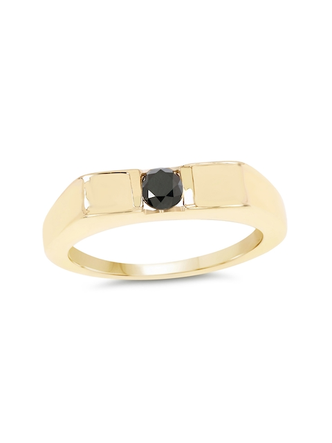 Johareez Gold-Plated Ring with 0.25 CTW Genuine Black Diamonds