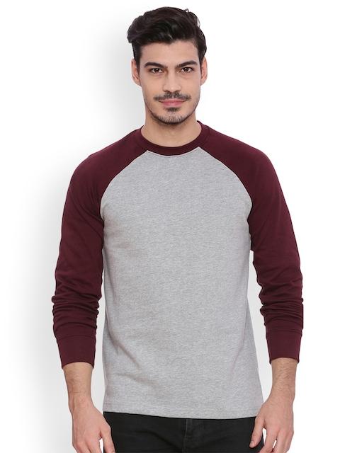 ARISE Men Grey & Maroon Solid Sweatshirt