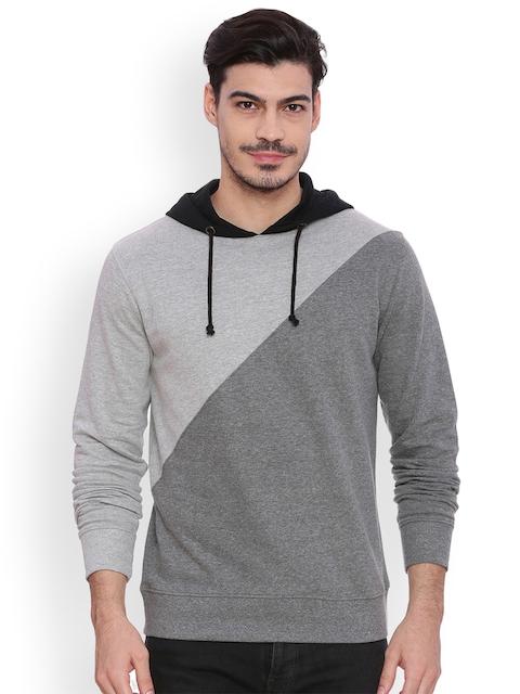 ARISE Men Grey & Charcoal Colourblocked Hooded Sweatshirt