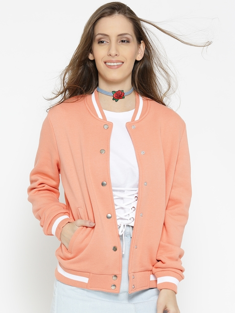 FOREVER 21 Women Peach-Coloured Solid Bomber Jacket