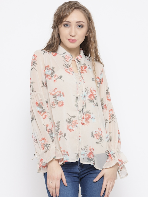 FOREVER 21 Women Beige Floral Print Casual Shirt