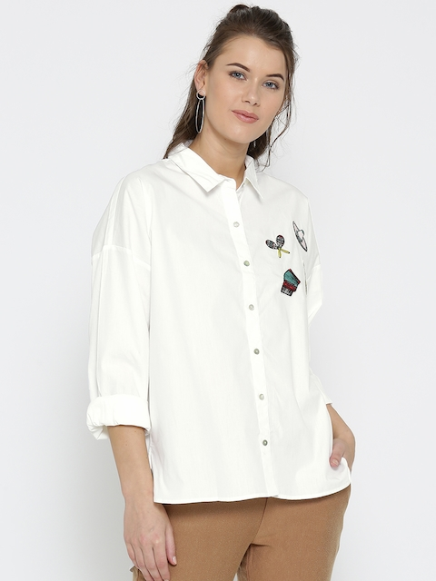 FOREVER 21 Women Off-White Regular Fit Solid Casual Shirt