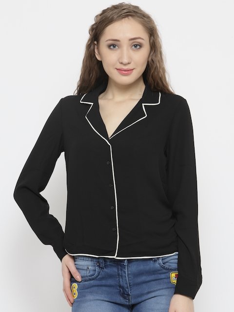 FOREVER 21 Women Black Embroidered Detail Casual Shirt