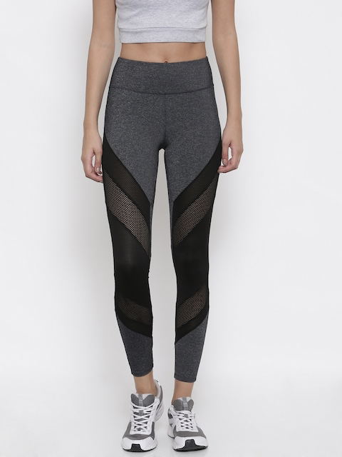 FOREVER 21 Grey Tights with Mesh Detail