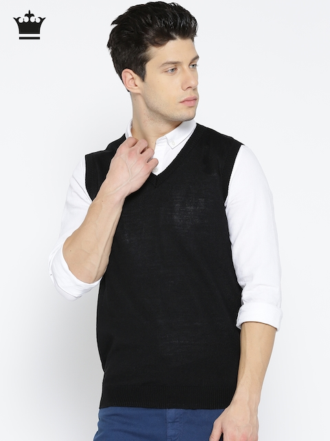 Louis Philippe Men Black Solid Sleeveless Sweater