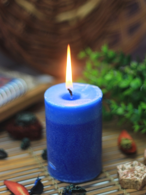 Soulflower Walk in the Wood Blue Pillar Small Candle