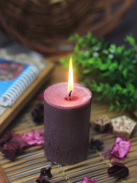 Soulflower Lavender Pillar Small Candle