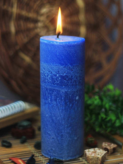 Soulflower Walk in the Wood Blue Pillar Big Candle