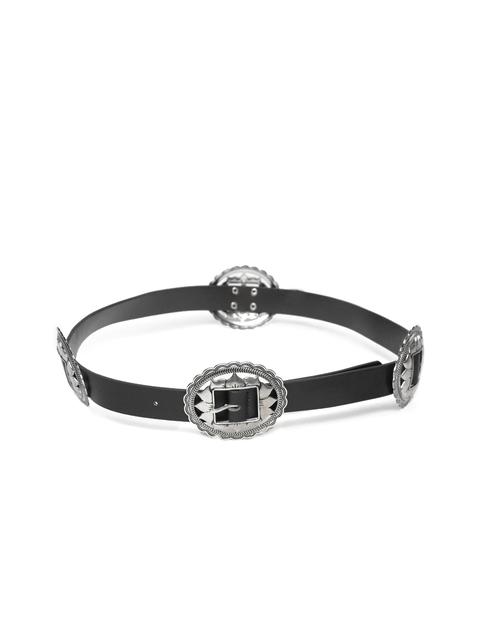 FOREVER 21 Women Black & Oxidised Silver-Toned Belt