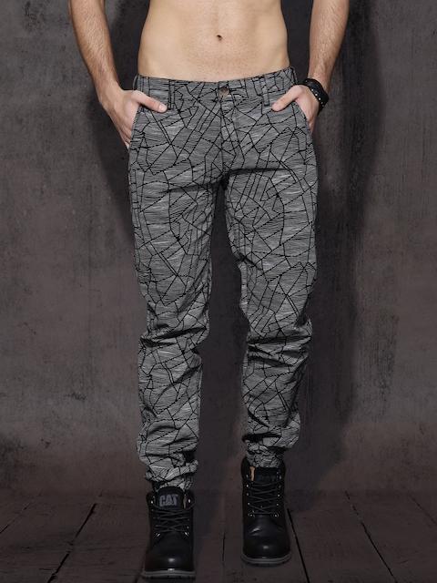 Roadster Men Black & White Slim Fit Printed Joggers