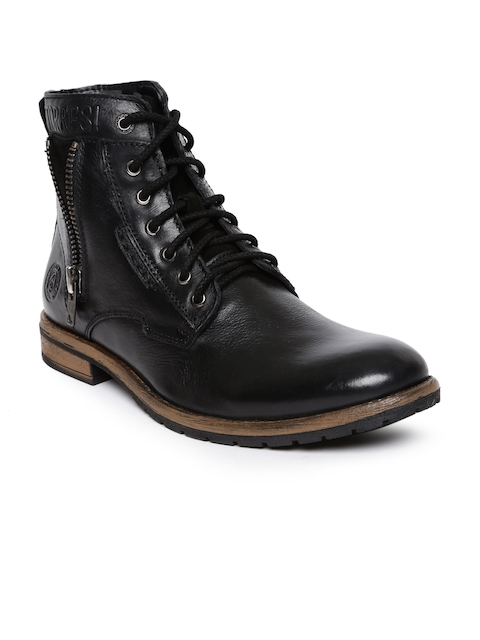 Alberto Torresi Men Black Solid Leather High-Top Flat Boots