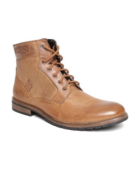 Alberto Torresi Men Brown Leather High-Top Flat Boots