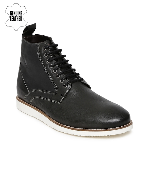 U.S. Polo Assn. Men Charcoal Grey Genuine Leather High-Top Flat Boots