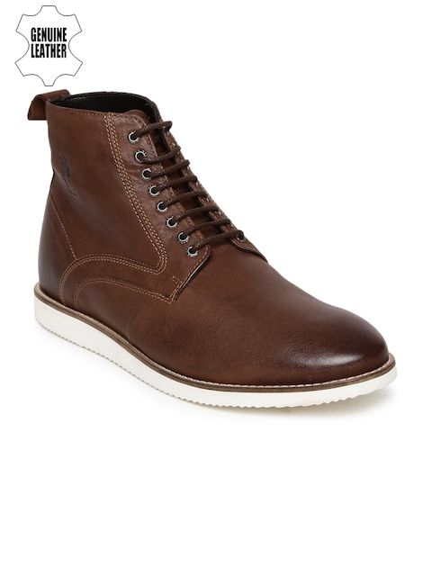 U.S. Polo Assn. Men Tan Brown Solid Genuine Leather High-Top Flat Boots