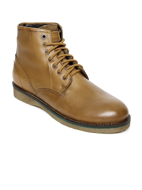 Alberto Torresi Men Tan Brown Solid Leather High-Top Flat Boots