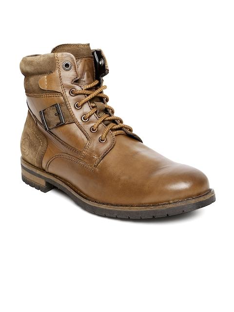 Alberto Torresi Men Tan Brown Leather High-Top Flat Boots