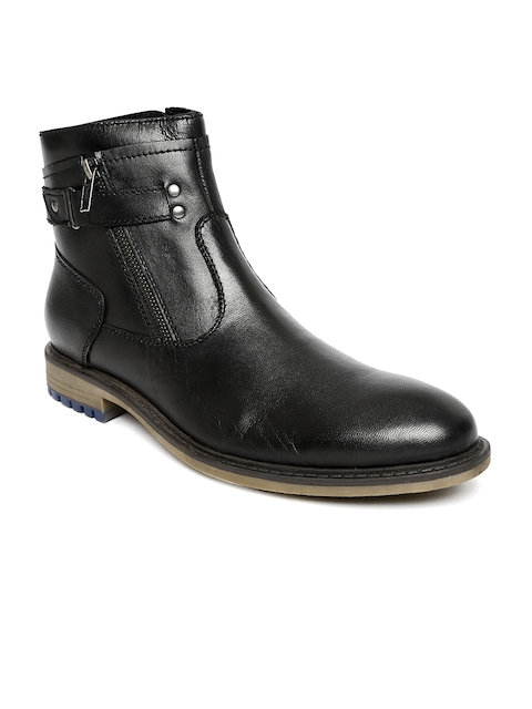 Alberto Torresi Men Black Leather High-Top Flat Boots