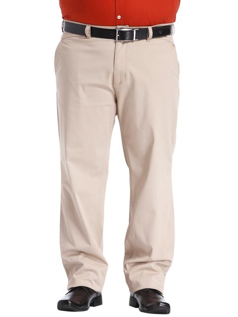 aLL Men Beige Custom Fit Solid Regular Trousers