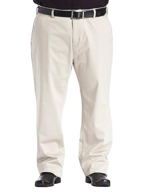 aLL Men Beige Custom Regular Fit Solid Chinos