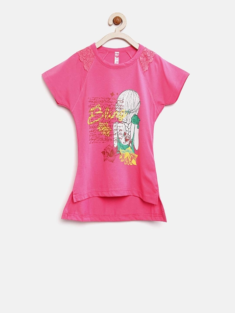 Sweet Dreams Girls Pink Printed High-Low Top  available at myntra for Rs.311