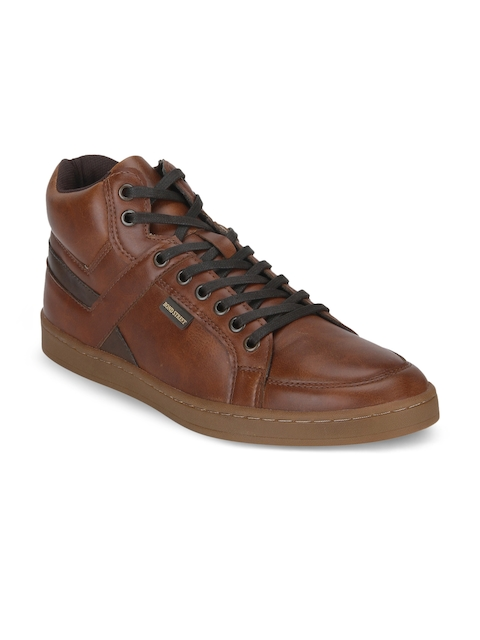 Bond Street By Red Tape Men Brown Solid Synthetic Mid-Top Flat Boots