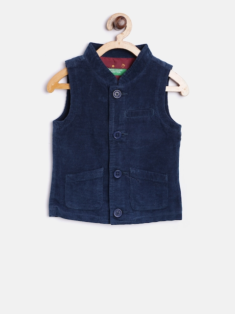 United Colors of Benetton Boys Navy Solid Waistcoat