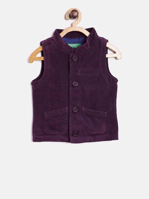 United Colors of Benetton Boys Purple Solid Waistcoat