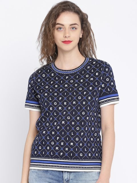 Tommy Hilfiger Women Navy Blue Printed Pullover Sweater