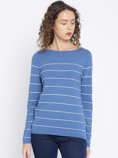 Tommy Hilfiger Women Blue & White Striped Pullover Sweater