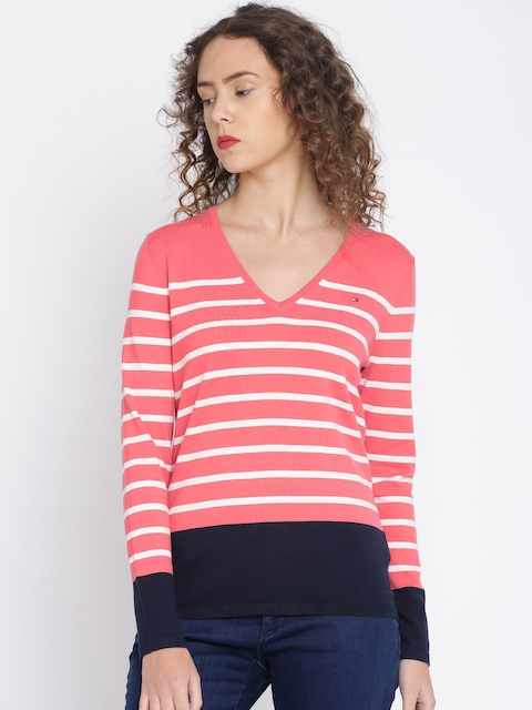Tommy Hilfiger Women Pink & White Striped Pullover Sweater