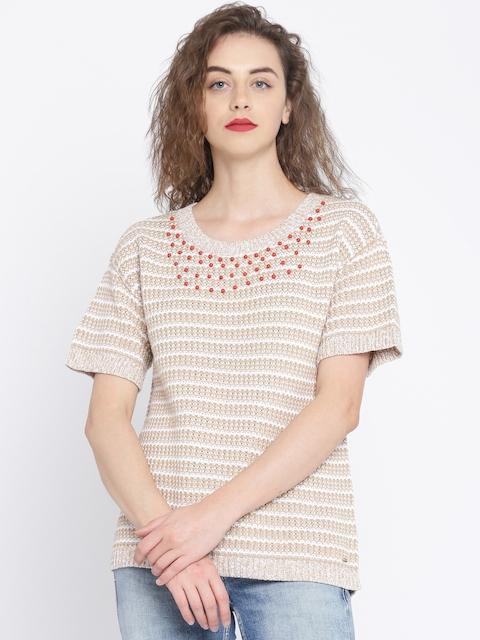 Tommy Hilfiger Women Beige & White Self-Design Pullover Sweater