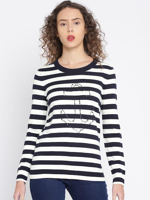 Tommy Hilfiger Women Navy & White Striped Pullover